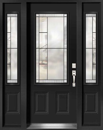 """Porte d'entrée en acier de Style Endrick vitrail 49"""" haut"""