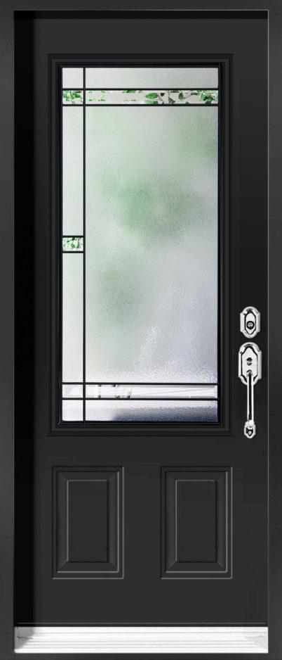 Porte d'acier avec vitrail